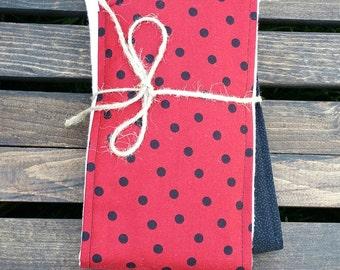 Red & Black Dot Cotton Burp Cloths - Set of 2