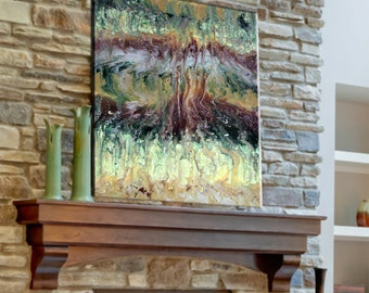 Rustic, Contemporary Abstract Print, Hand finished, epoxy resin coated, giclee on canvas, rich earth tones LG wall decor,