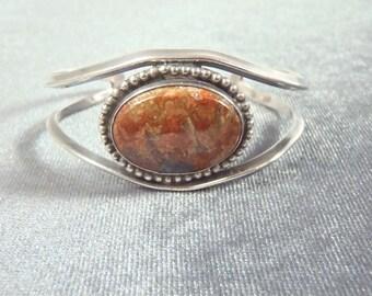 Sterling Silver Jasper Cuff Bracelet B52