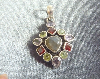 Sterling Silver Multi Gemstone Pendant P61