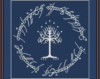 White Tree of Gondor cross stitch pattern Instant Download PDF