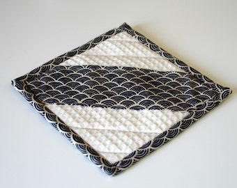 A potholder , beige fabric and japanese pattern for your kitchen