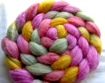 Merino/Silk/Bamboo Spinning Fiber (Combed Top) 4 oz. Hand Painted