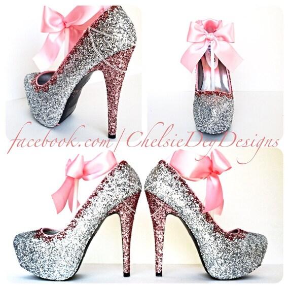 Glitter High Heels Pink and Silver Pumps Bubblegum Light