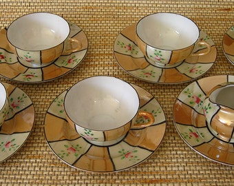 Child's Lusterware Tea Set, 14 pieces total
