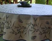 Round coated tablecloth olives and cecadas 70'' diameter