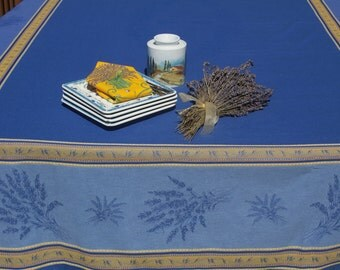 "Rectangular Tablecloth, French Jacquard Teflon.98"" long by 64"" wide. Fabric from Provence, France. Lavender in blue."