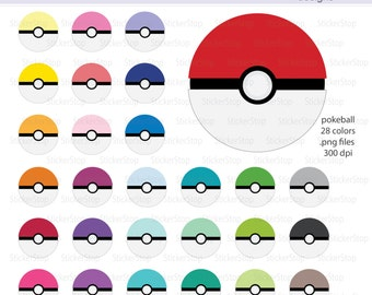 Pokemon Pokeball Icon Digital Clipart in Rainbow Colors - Instant download PNG files