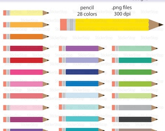 Pencil Icon Digital Clipart in Rainbow Colors - Instant download PNG files