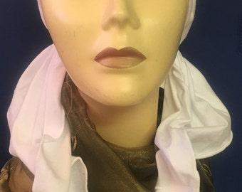 Uptown Girl Headwear White cotton scarf