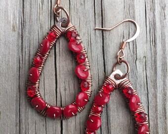 Wire wrapped hoop earrings