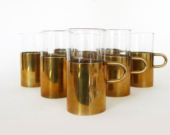 Set of 8 Brass and Glass Mugs / Modern Beucler-Style Cups