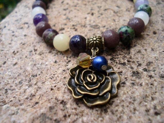 Charm Bracelet, Amethyst Bracelet, Onyx Bracelet, Gift For Her, Bracelets For Women, Women's Bracelet, Purple Bracelet, Beaded Bracelets