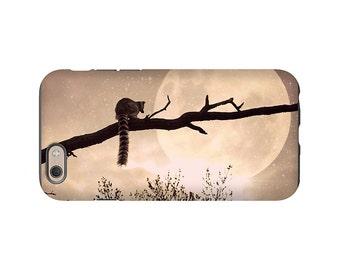 Lemur phone case - Supermoon iphone case - 3D full image wrap Iphone case - Iphone 6 6s case - lemur supermoon whimsical iphone case
