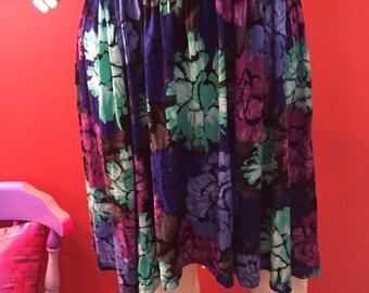 Colorful floral flirty spring skirt
