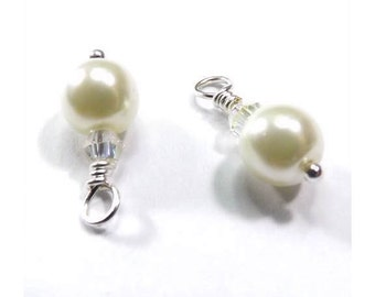 Drop Bead Charms - Swarovski Crystals & Glass Pearls - Bright White Glossy (2)