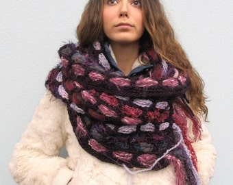 Crochet Boho Chunky cowl Scarf Handwoven Winter Wool Chunky Scarf
