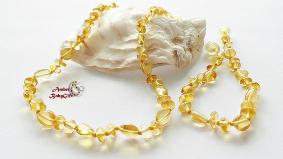 """Set of Baltic Amber Teething Necklace 12.5""""- 13.0""""and Bracelet / Anklet 5.5""""- 5.9"""" - Baby Jewelry - Honey Amber Beads - Screw clasp, 16R"""