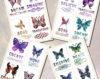 Butterfly Printables, POSTCARD SIZE, (3.5 x 5 Inch or 12.7 x 8.8 cm), 16 Total