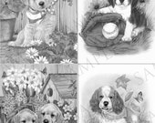 Set of 4 Adult Coloring Pages Dogs