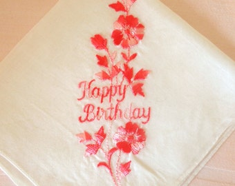 Vintage Happy Birthday Hankie Handkerchief for Ladies | Swiss Embroidered with Pink Flowers Cotton Handkerchief | Mid Century Gift for Her