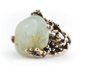 Statement Ring with green Prehnite- One of a kind woman and man ring