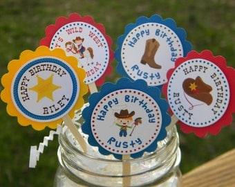 Cowboy Cupcake Toppers  - Personalized Western Cupcake Toppers - Cowboy Favors - Cowboy Birthday Cupcake Toppers - Cowboy Party Decor