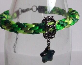 Green Camo Braided Bracelet with Black Star Charm