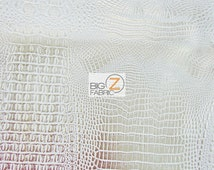 Metallic African Crocodile Embossed Vinyl Fabric - WHITE/GOLD - Sold By The Yard Upholstery 2 Tone Faux Fake Leather