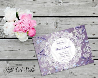 Shabby Chic Invite-Lavender Garden-Cottage Chic-Purple Flowers-Wood-Printable-Invitation