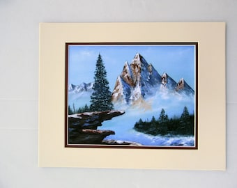 Mountain View Oil Painting Print 14 x 11 Double Matted Ready for Framing FI0225