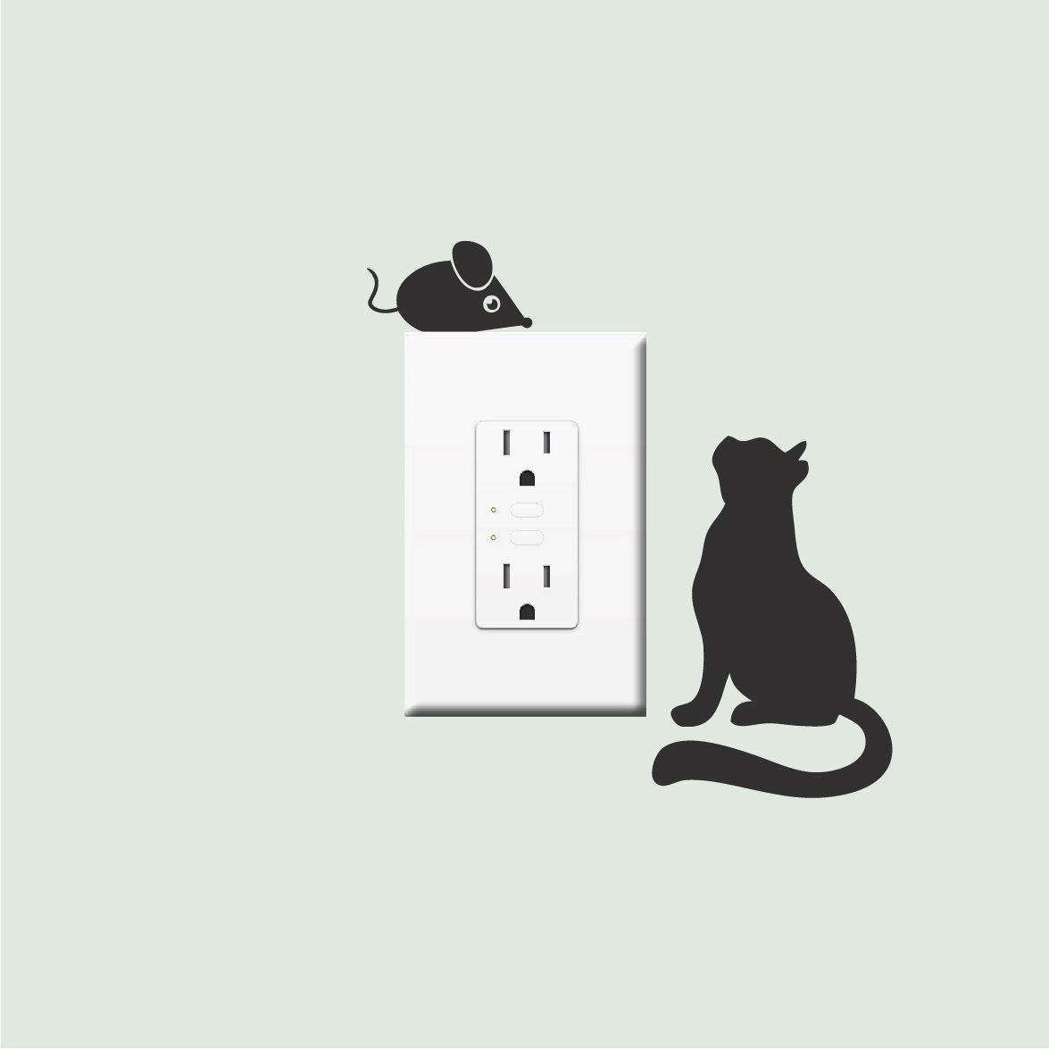 Cat And Mouse Wall Decal Cat And Mouse Vinyl Wall Sticker