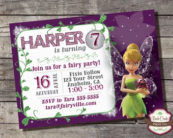 Tinker Bell Invitation, Pixie Hollow, Disney Fairies, Fairy, Wings, Custom Printable Invitation for Girls Birthday Party