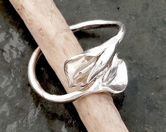 Calla lily by-pass adjustable sterling silver ring