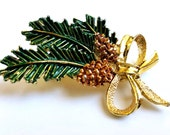 Vintage GERRYS Christmas Pinecone Brooch, Gold-Tone Painted, Estate, Mid-Century Modern 1950s-60s,