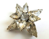 Vintage Rhinestone Brooch Scatter Pin, Clear Prong-Set, Silver-Tone Star Starburst Snowflake Dome Brooch Pin Small Scatter Pin Lapel Modern