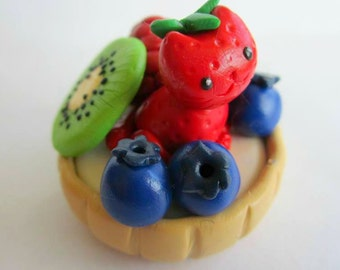 Polymer Clay Cat Fruit Tart