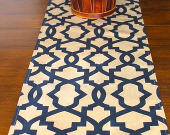 NAVY Blue TABLE RUNNER Top Wedding Shower Dark Blue Tan Khaki Holiday Table  Runners Geometric Table