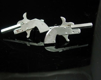 """Vintage working Cap Gun cuff links Toy pistol Collectors Miniature Mechanical Made in Japan 2"""" long mens novelty weapon cowboy police gift"""