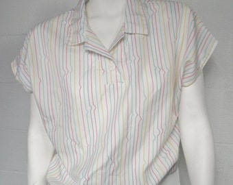 Vintage 80s Laura Mae white multi color striped slouch top