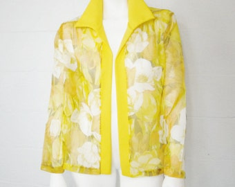 Vintage 70's Flutterbye brand yellow floral sheer open front blouse/ jacket