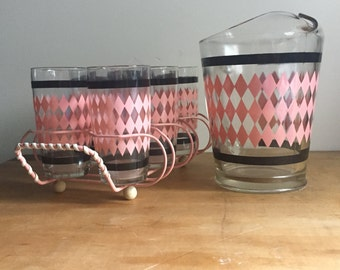 Vintage pink diamond with black stripe pitcher and glass set.