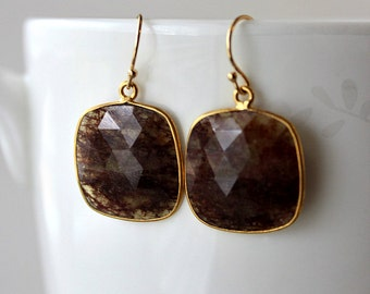 Large Red Rutilated Stone Drop Earrings, Burgundy Red Rutilated Quartz Dangle, Reddish Brown Natural Square Stone Earrings
