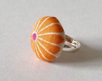 Orange Flower Fabric Ring, Retro Orange and Pink Flower Silver Ring