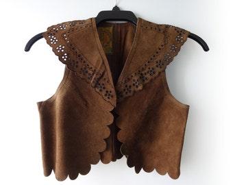 Vintage 1970s Char Brown Suede Vest