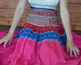 Banjara gypsy skirt embroidered maxi hand made high cut waist with mirrors, patchwork dance Rajasthani nomad