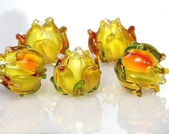 Lampwork bead orange yellow autumn flower bud sra