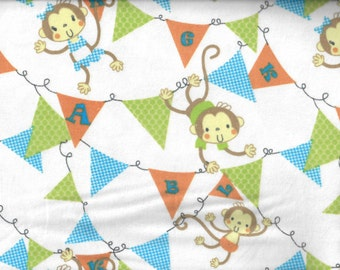 Swinging Monkeys flannel fabric - monkeys swinging from pennant flag bunting - AE Nathan - by the YARD