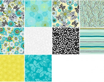 Lanoma Charm Pack - 3 Wishes Fabric - 20 precut 5 inch quilting squares - butterflies flowers