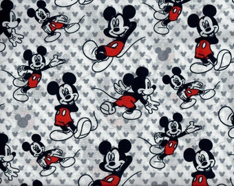 Mickey Mouse Relaxed fabric -  figures and silhouettes - black white red gray - Disney - LAST YARD